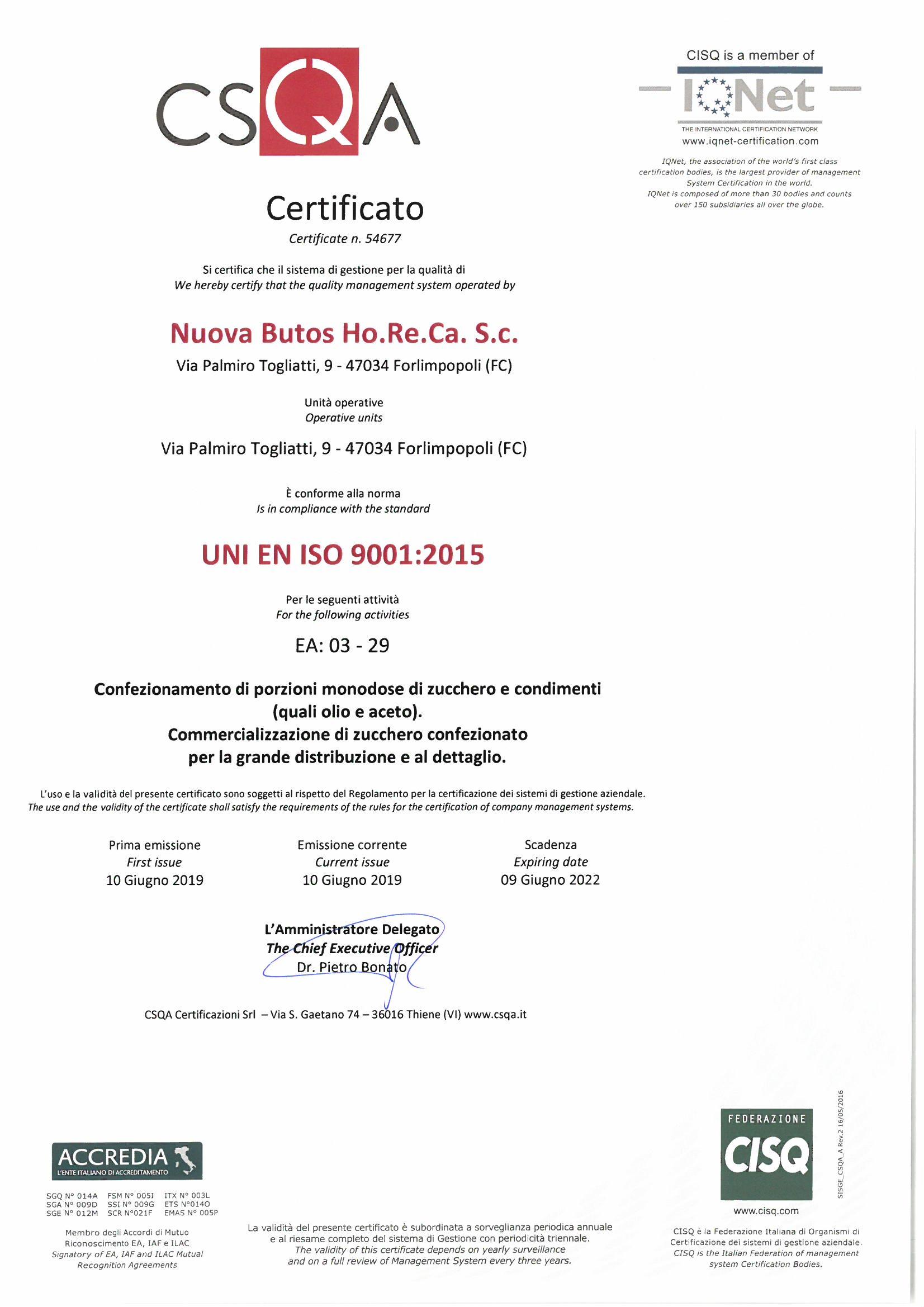 Cert ISO9001 Nuova Butos
